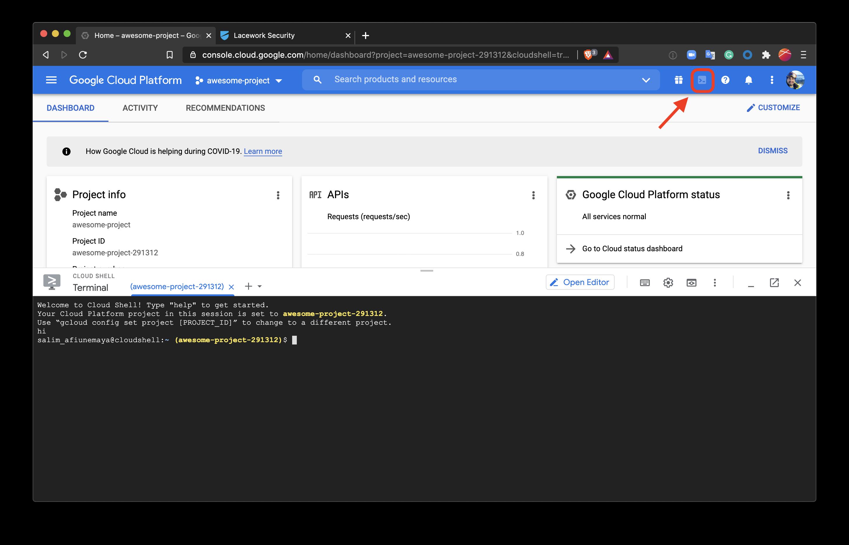 Open Google Cloud Shell